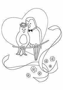Dessin Couple Mariage Couleur : coloriage mariage oiseaux ~ Melissatoandfro.com Idées de Décoration