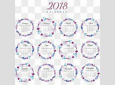 Elegante purple aquarela 2018 calendar template, Elegante