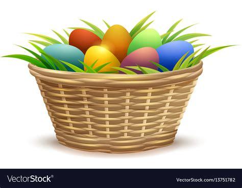 Wicker Basket Full Of Easter Eggs On Grass Vector Image