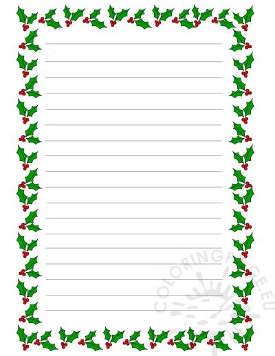christmas holiday writing paper  coloring page