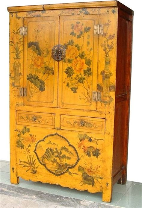 asian rare yellow lacquered painted flowers antique