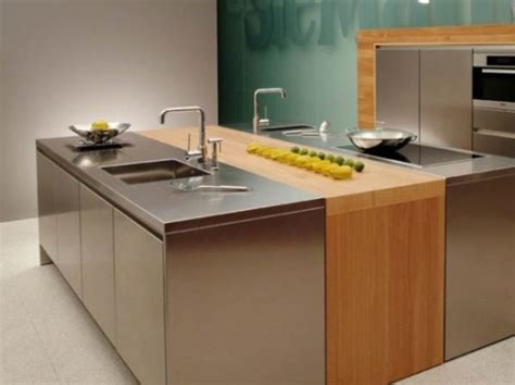 wood and stainless steel kitchen island 10 beautiful stainless steel kitchen island designs 2130