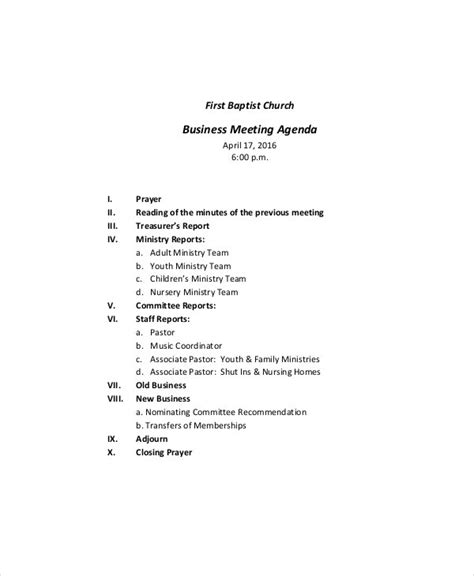 business meeting agenda template   word