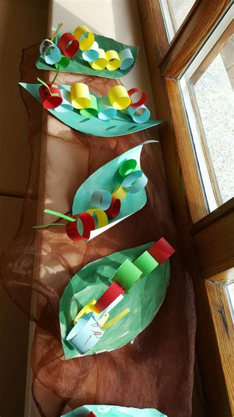 raupen basteln fruehling kinder kindergarten
