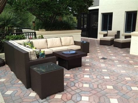patio furniture set with gas pit table traditional
