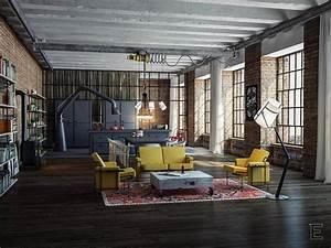 Style Industriel Salon : industrial loft ~ Teatrodelosmanantiales.com Idées de Décoration