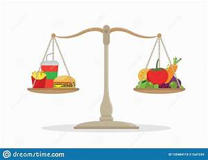 Junk Food And Vegetables Balance On The Scale. Stock ...