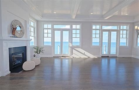 Coastal Living Room With White Beadboard Celing Cottage