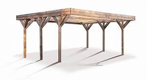 Carport 2 Voitures Bois : carport couvert double enzo en bois traite teinte madeira ~ Dailycaller-alerts.com Idées de Décoration