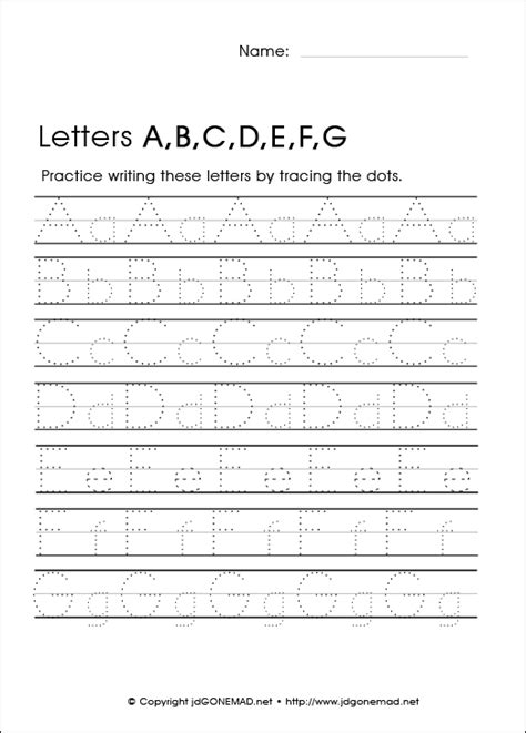 Free Printable Alphabet Letter Tracing Worksheets