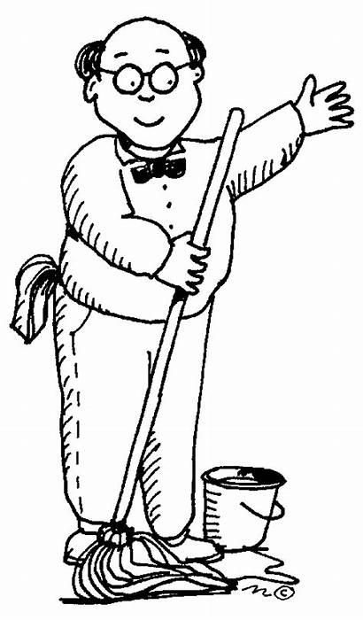 Janitor Clipart Clip Custodian Drawing Janitors Custodial