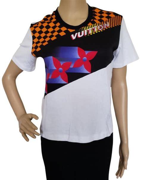 louis vuitton white multicolor lv monogram  shirt blouse size  xs tradesy