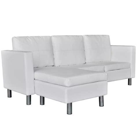sofa seccional cuero blanco sof 225 seccional en l de cuero artificial con 3 asientos