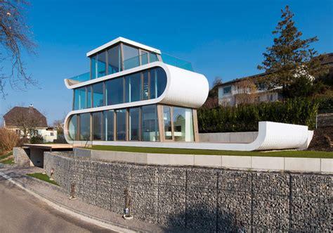 white ribbons winds   flex house  switzerland