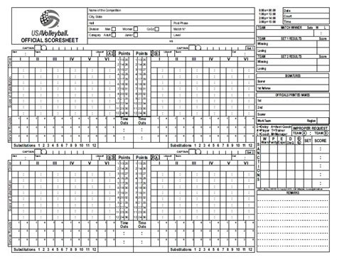 Usa Volleyball Score Sheet Example