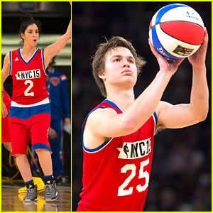 ansel elgort plays  star celeb basketball game