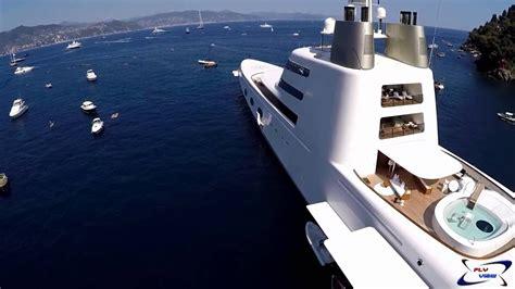 mega yacht  sf video drone fly view portofino