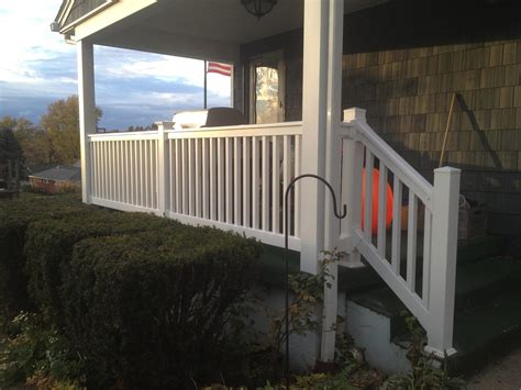 vinyl porch railing front porch white vinyl railing installation in new