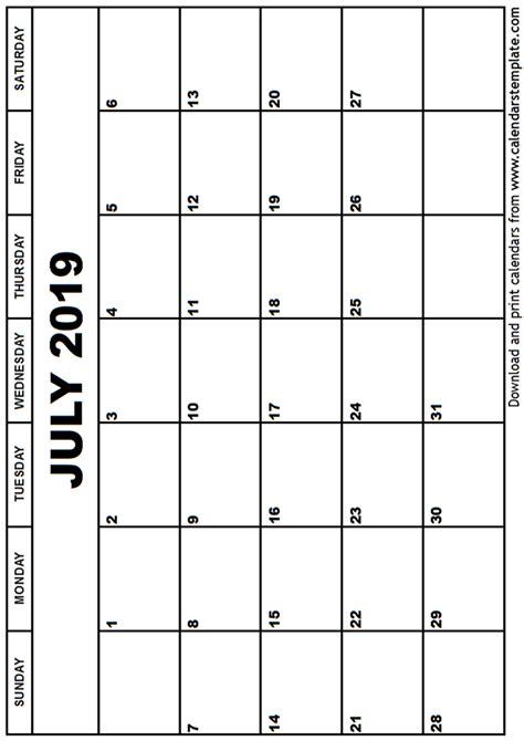 Calendar Template 2019 July 2019 Calendar Template