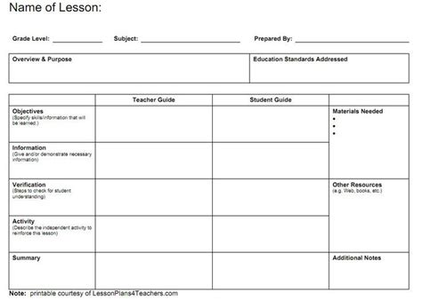 free lesson plan templates 20 word pdf format