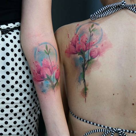 gorgeous watercolor matching flower tattoos venice