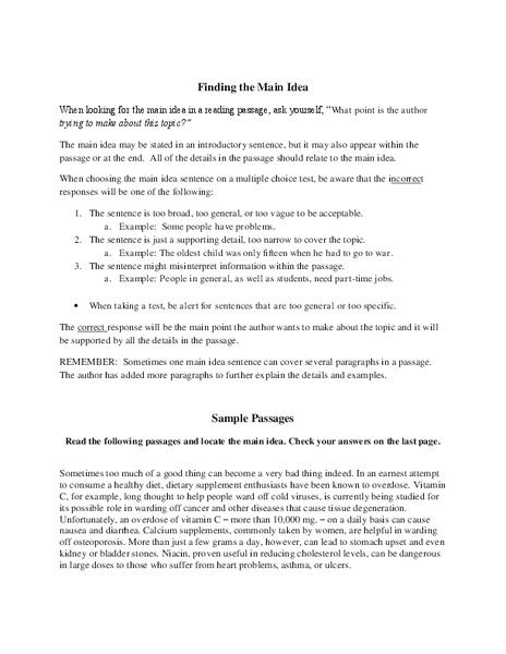 finding the main idea worksheet for 6th 8th grade