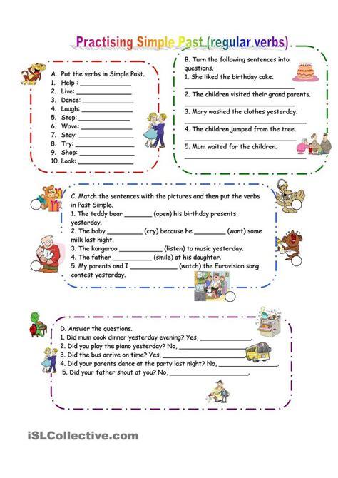 practicing  simple regular verbs aulas atividades