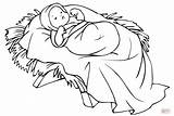 Coloring Pages Jesus Manger Printable Drawing Dot Crafts Paper sketch template