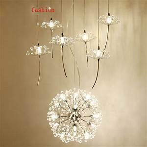 Crystal ceiling fan light fixture : Z northern europe crystal chandelier dandelion shape