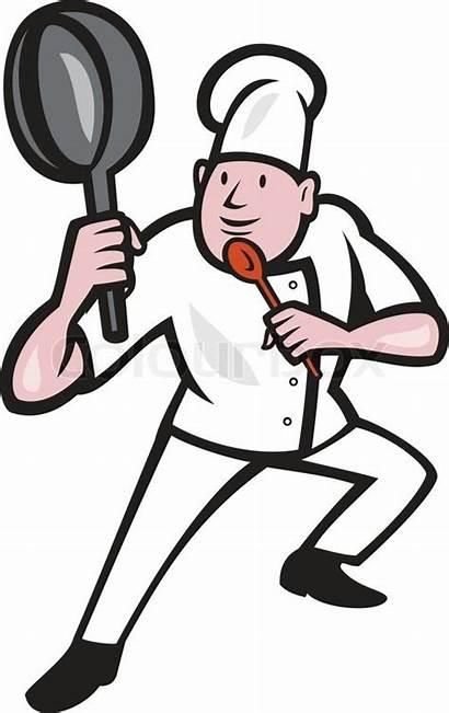Chef Cartoon Pan Cook Fu Frying Kung