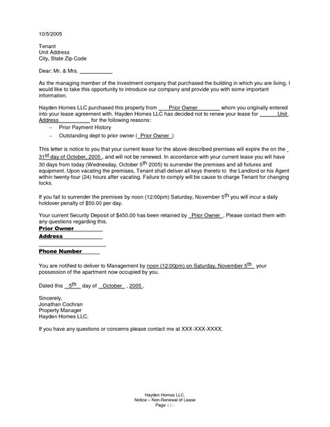 Nonrenewal Of Lease Letter - Free Printable Documents
