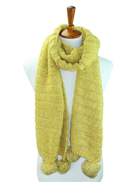 Ribbed Knit Scarf thick wide ribbed knit scarf with pom poms luxury divas