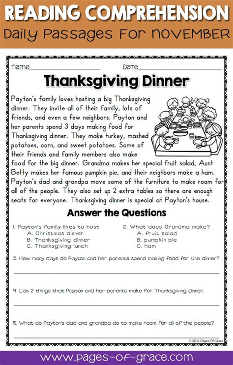 Reading Comprehension Passages And Questions For November  Fun Stories, Reading Comprehension