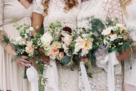 Bohemian meets rustic wedding   bridal party in white lace & lots of natural outdoor elements