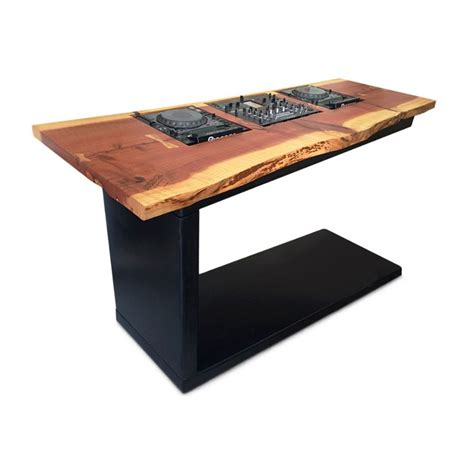 wooden dj table dj table cherry hardwood slab rolled steel with