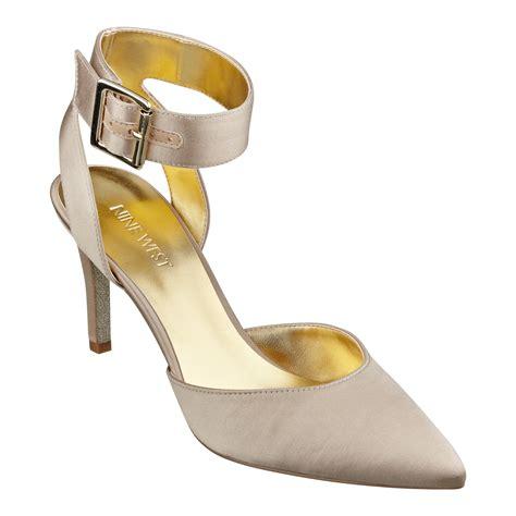 light gold heels nine west callen anklestrap high heels anklestrap pumps in