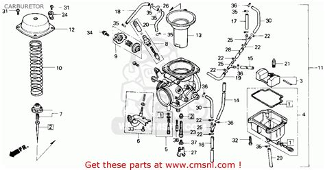 honda nx650 dominator 1989 k usa carburetor schematic partsfiche