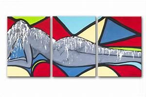 Tableau Coloré Moderne : triptyque color moderne nu scorching heat rectangle triptyque color abstrait figuratif nu ~ Teatrodelosmanantiales.com Idées de Décoration