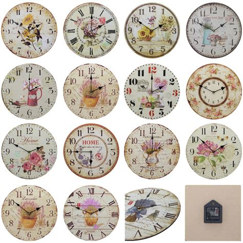 large shabby chic wall clock shabby chic large 34cm thin distressed rustic wall clock floral flowers ebay