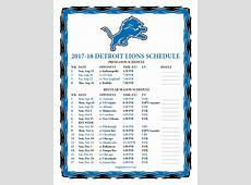 Printable 20172018 Detroit Lions Schedule
