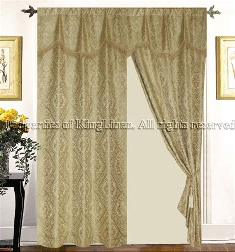 imperial gold curtains w valance tassels sheers