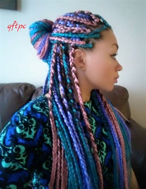 colorful braiding hair i tried it multi colored box braids black with