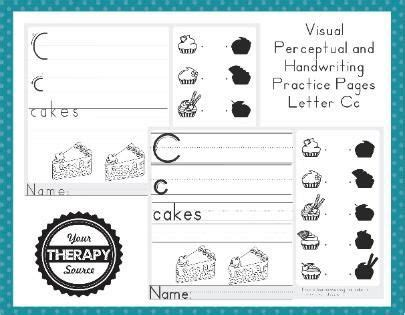 visual perceptual  handwriting practice page letter cc
