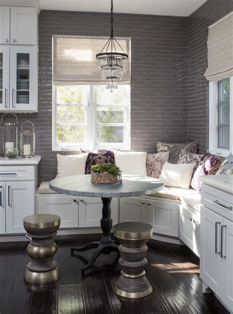 small chandelier   breakfast nook bench