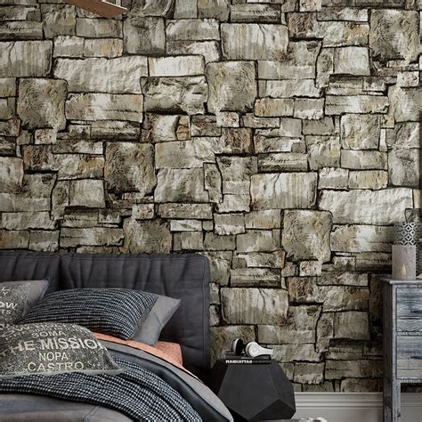 meter  stone brick wallpapers mural roll wallpaper