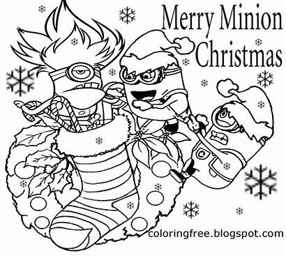 Coloring Christmas Pages Minions Cool Merry Minion