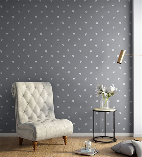 buy white grey happy hearts wallpaper nilaya wall