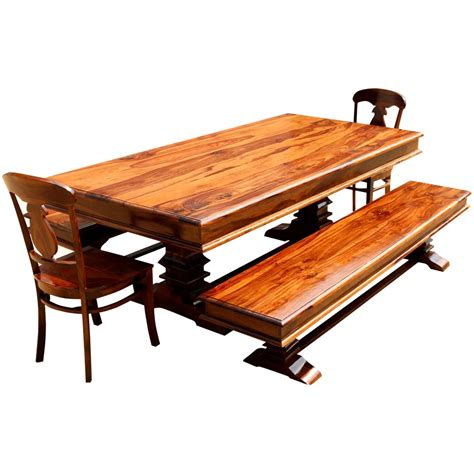 nottingham solid wood 92 trestle dining table benches 2