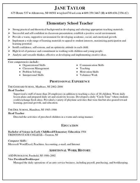 Elementary Resume Skills resume sles high school teaching resume school resume cover letter elementary