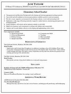 resume samples high school teaching resume school With elementary teacher resume examples
